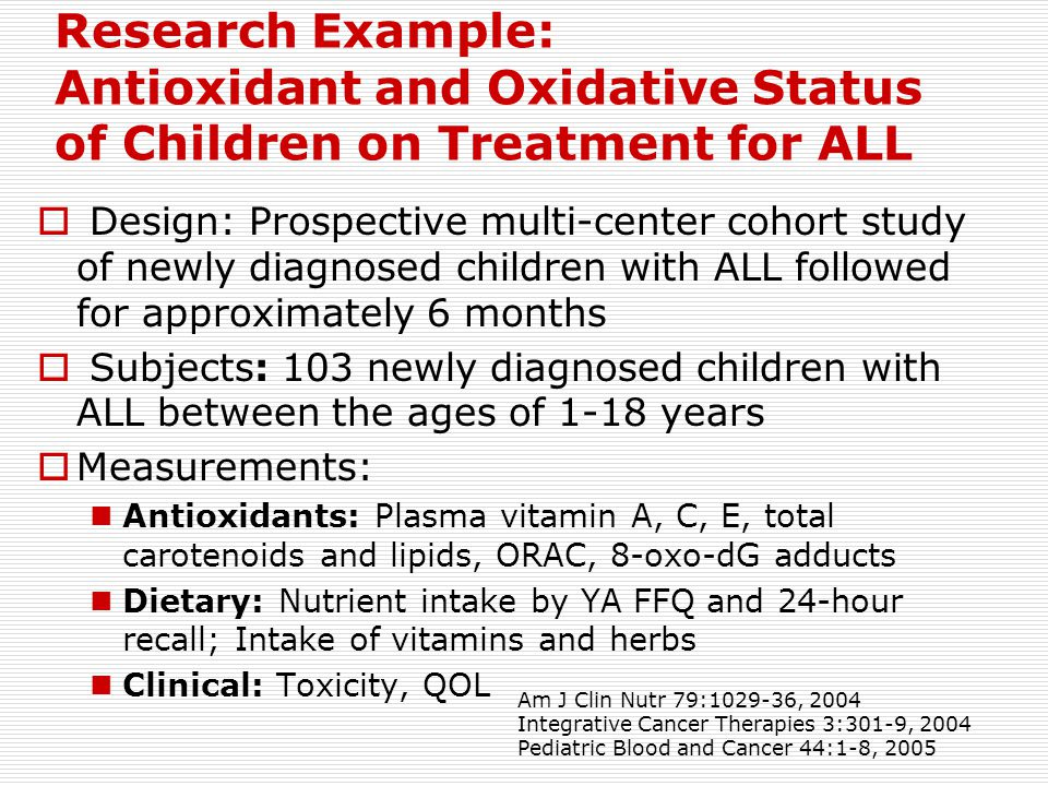 Research Example: Antioxidant and Oxidative Status of Children on Treatment for ALL