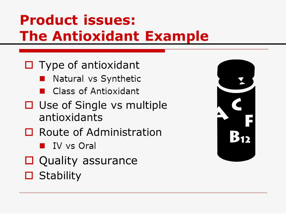 Product issues: The Antioxidant Example