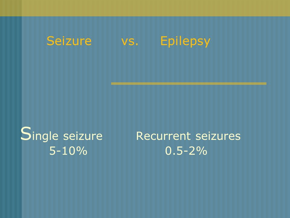 Single seizure Recurrent seizures 5-10% 0.5-2%