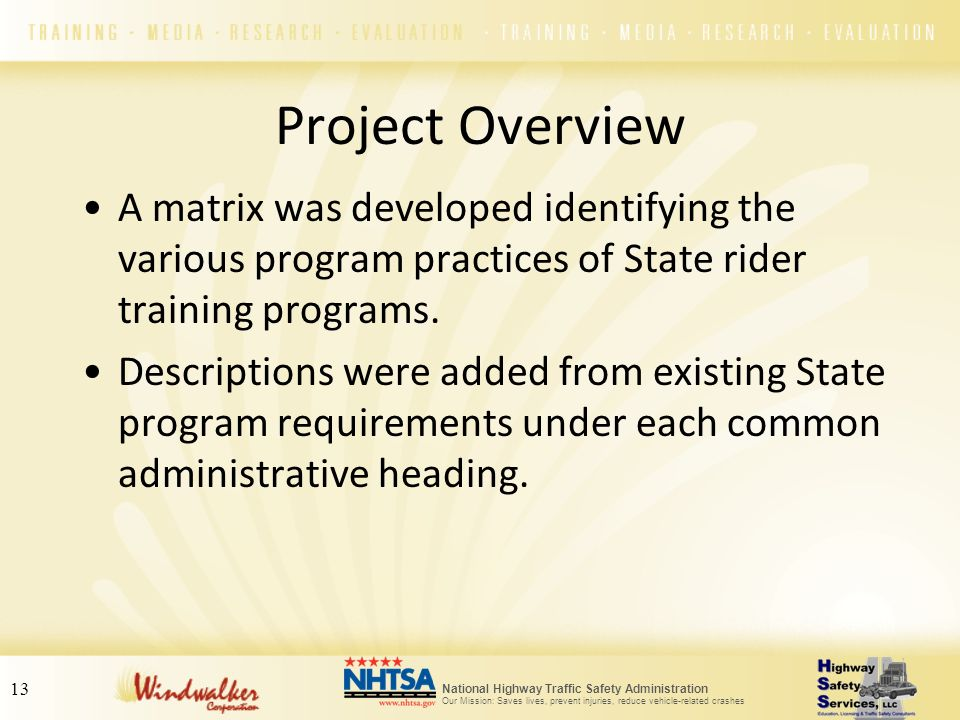 Project Overview A matrix was developed identifying the various program practices of State rider training programs.