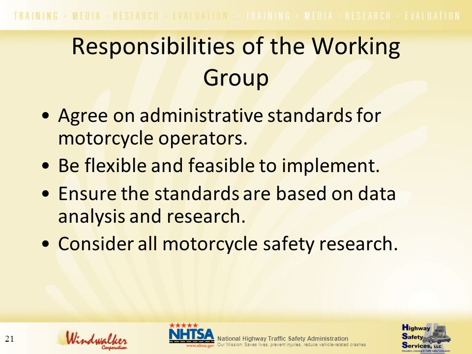 Responsibilities of the Working Group