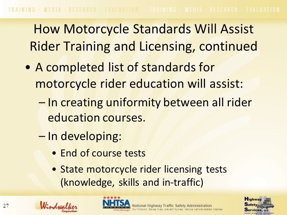 How Motorcycle Standards Will Assist Rider Training and Licensing, continued