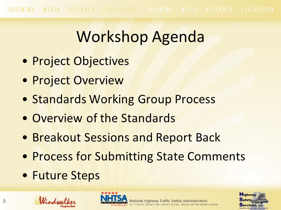 Workshop Agenda Project Objectives Project Overview