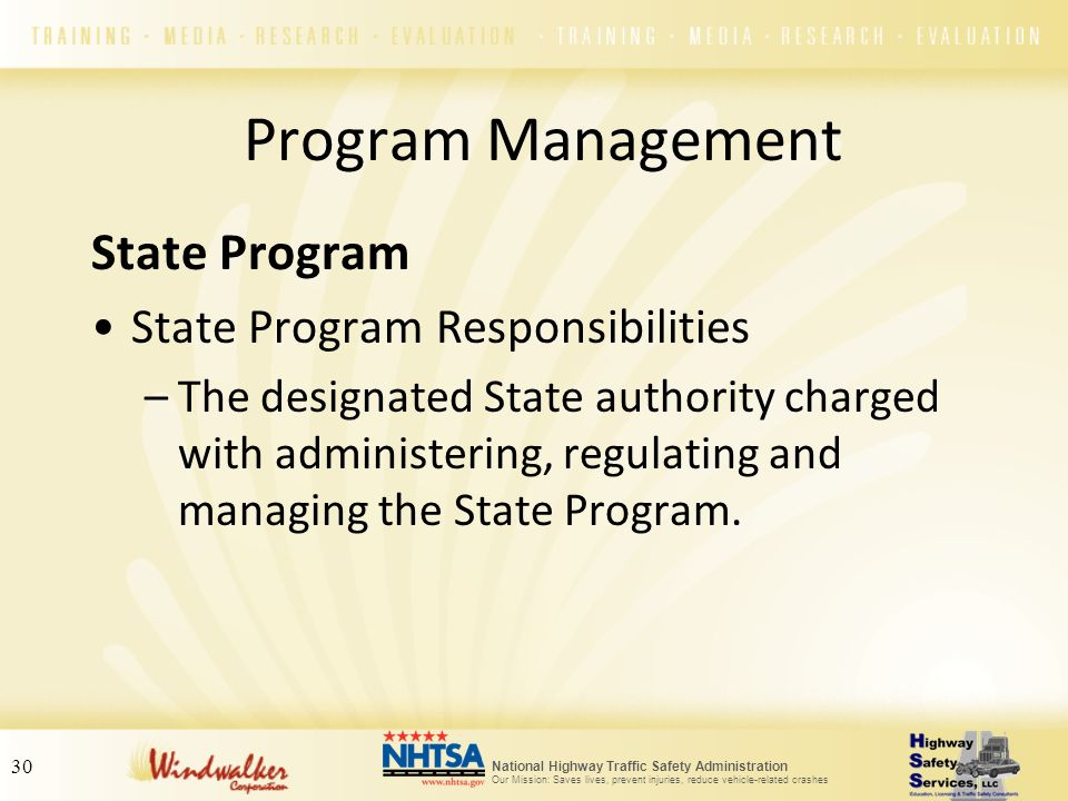 Program Management State Program State Program Responsibilities