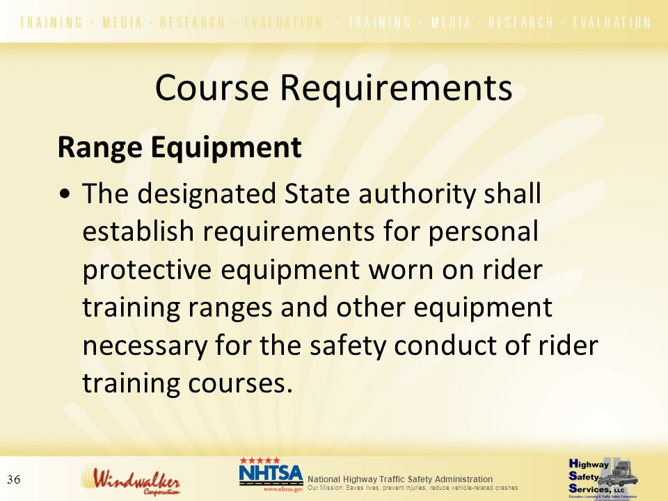 Course Requirements Range Equipment