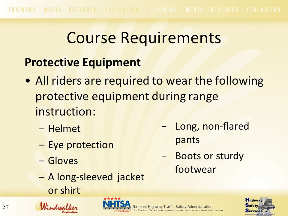 Course Requirements Protective Equipment