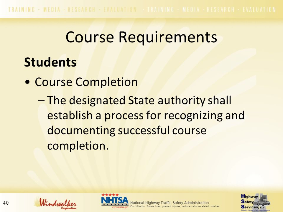 Course Requirements Students Course Completion