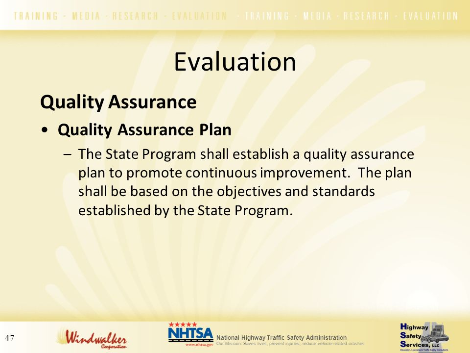 Evaluation Quality Assurance Quality Assurance Plan