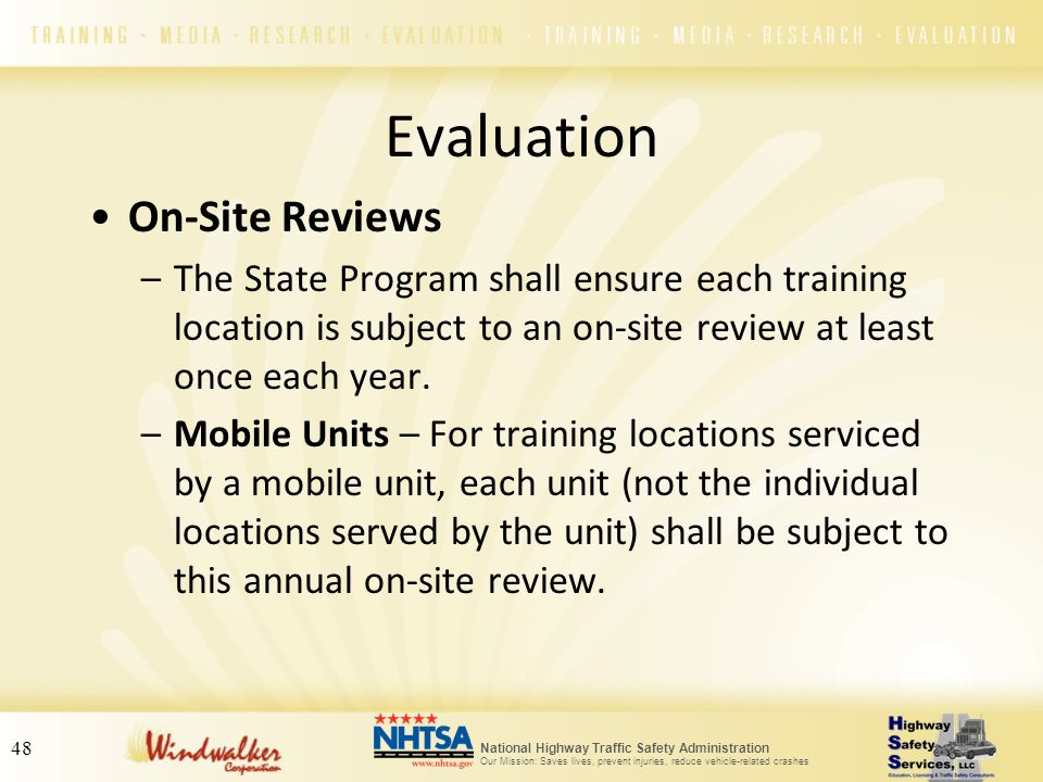 Evaluation On-Site Reviews