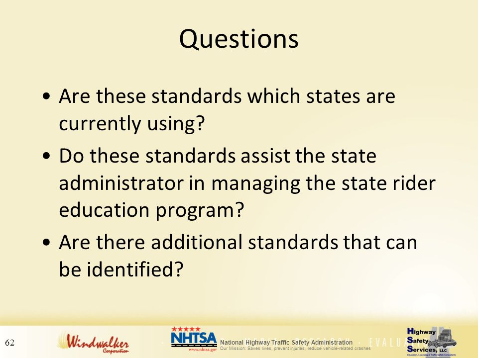 Questions Are these standards which states are currently using