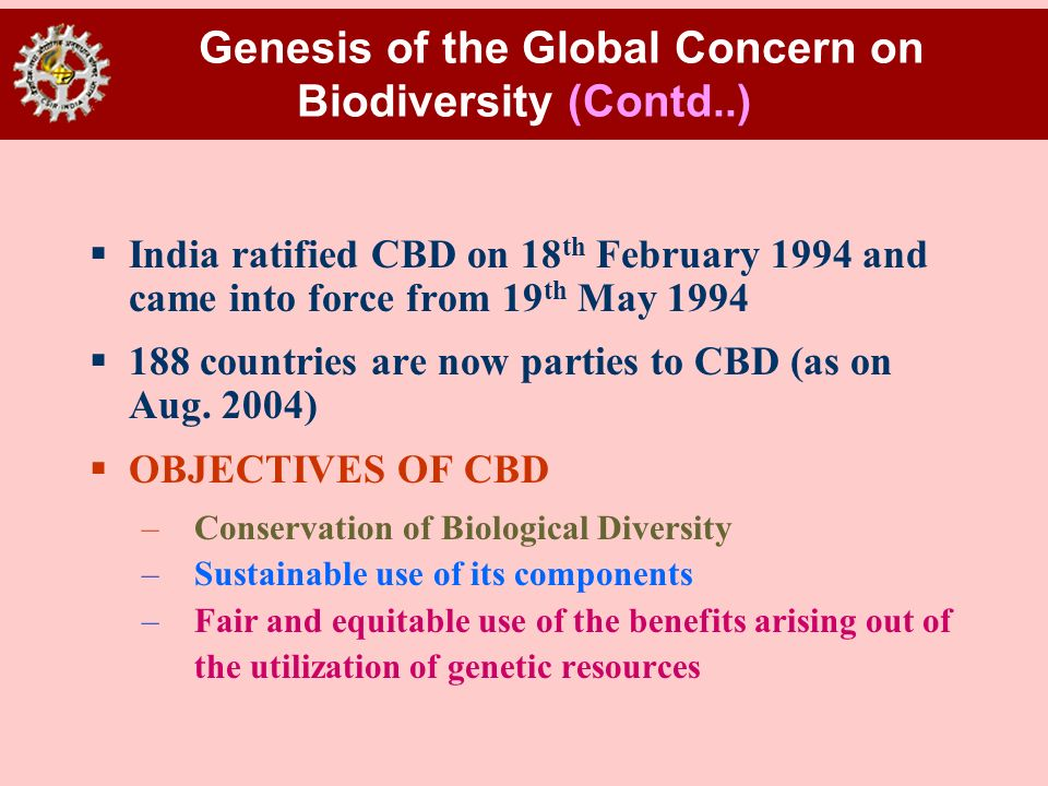 Genesis of the Global Concern on Biodiversity (Contd..)