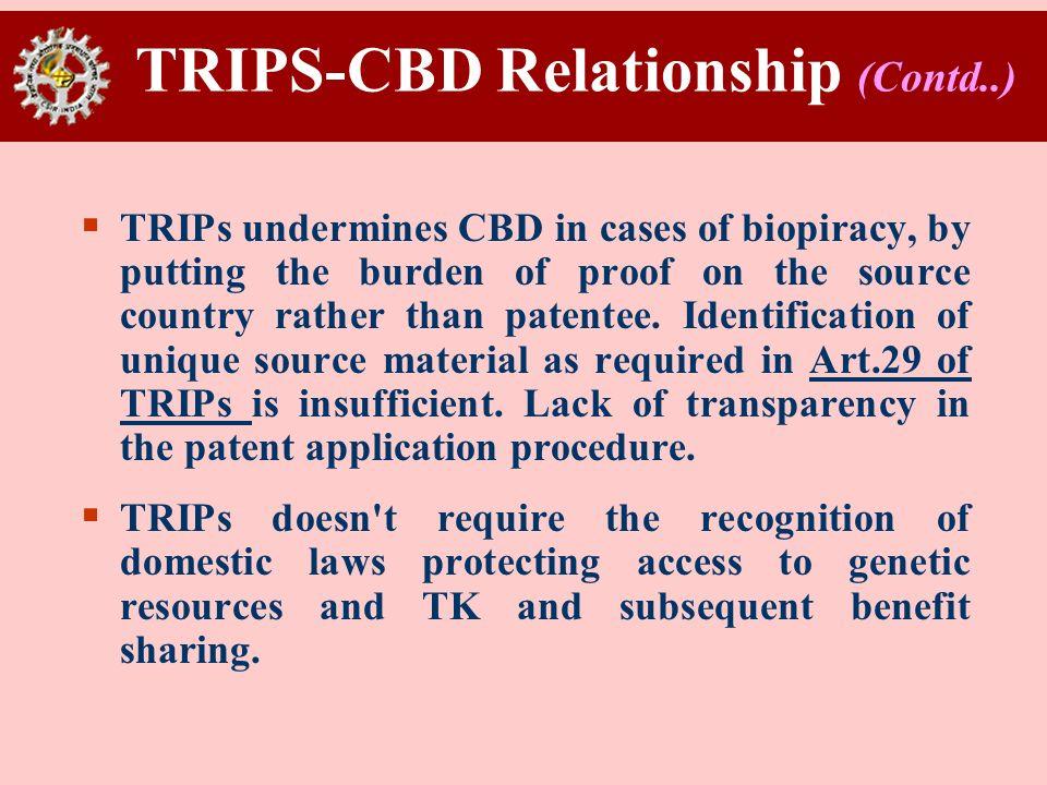 TRIPS-CBD Relationship (Contd..)