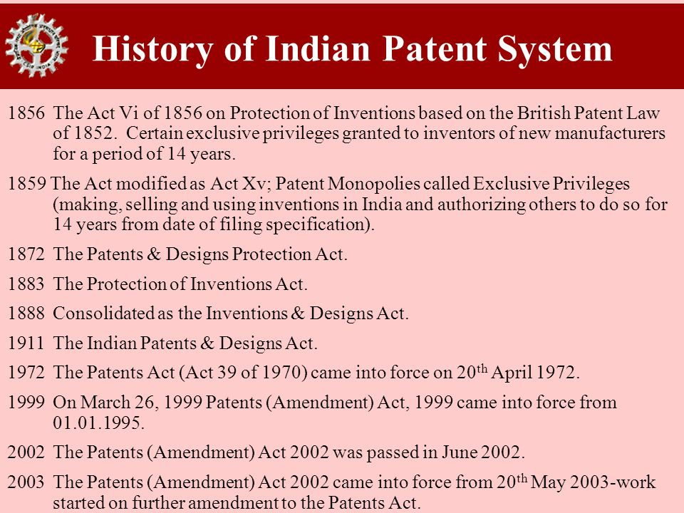 History of Indian Patent System