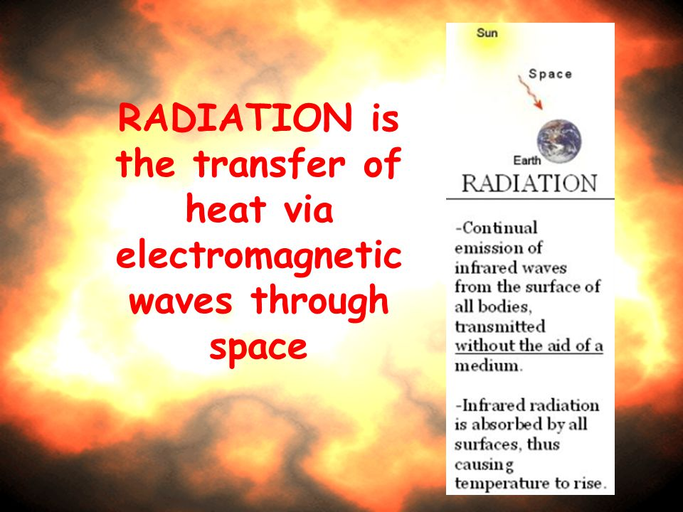 RADIATION is the transfer of heat via electromagnetic waves through space