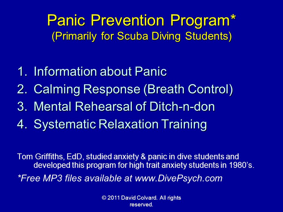 Panic Prevention Program* (Primarily for Scuba Diving Students)