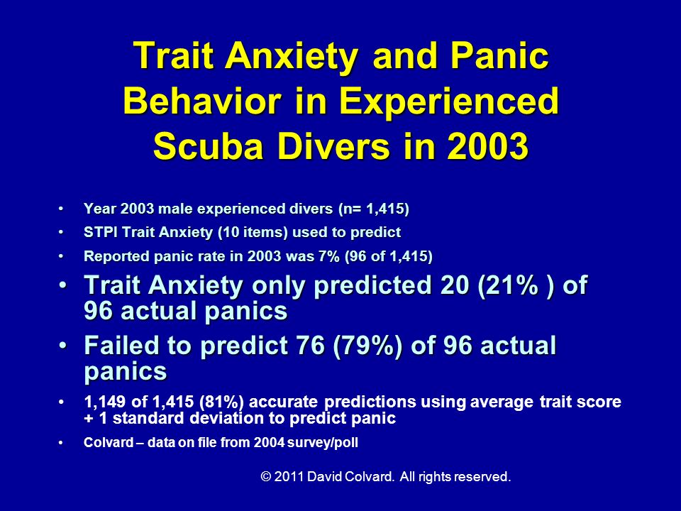 Trait Anxiety and Panic Behavior in Experienced Scuba Divers in 2003