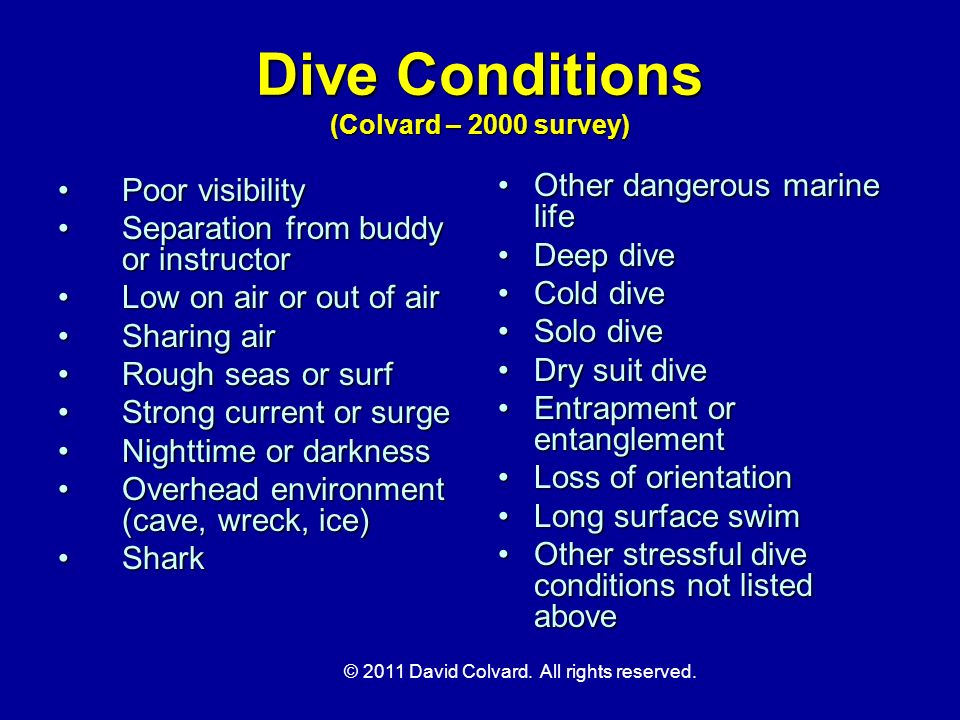 Dive Conditions (Colvard – 2000 survey)