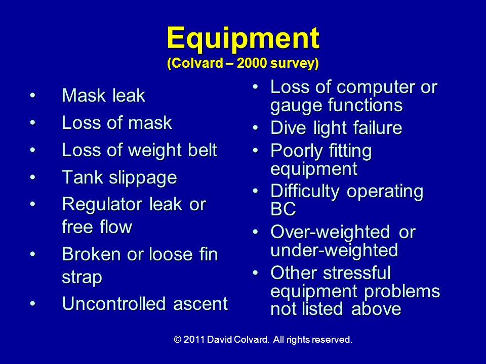 Equipment (Colvard – 2000 survey)