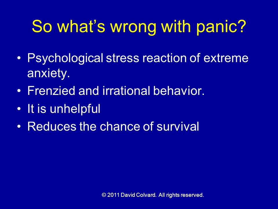 So what's wrong with panic