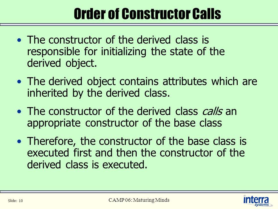 Order of Constructor Calls
