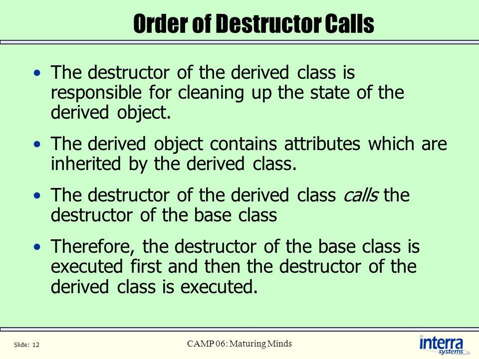 Order of Destructor Calls