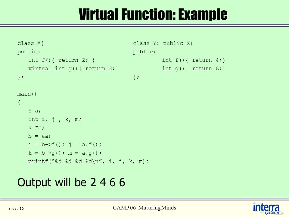Virtual Function: Example