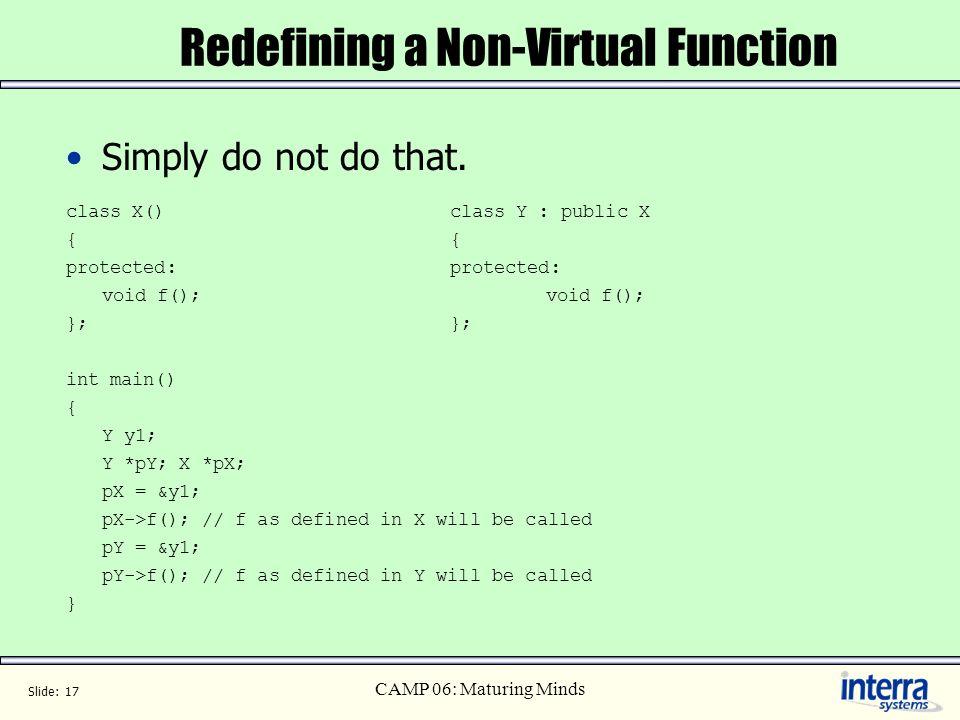 Redefining a Non-Virtual Function