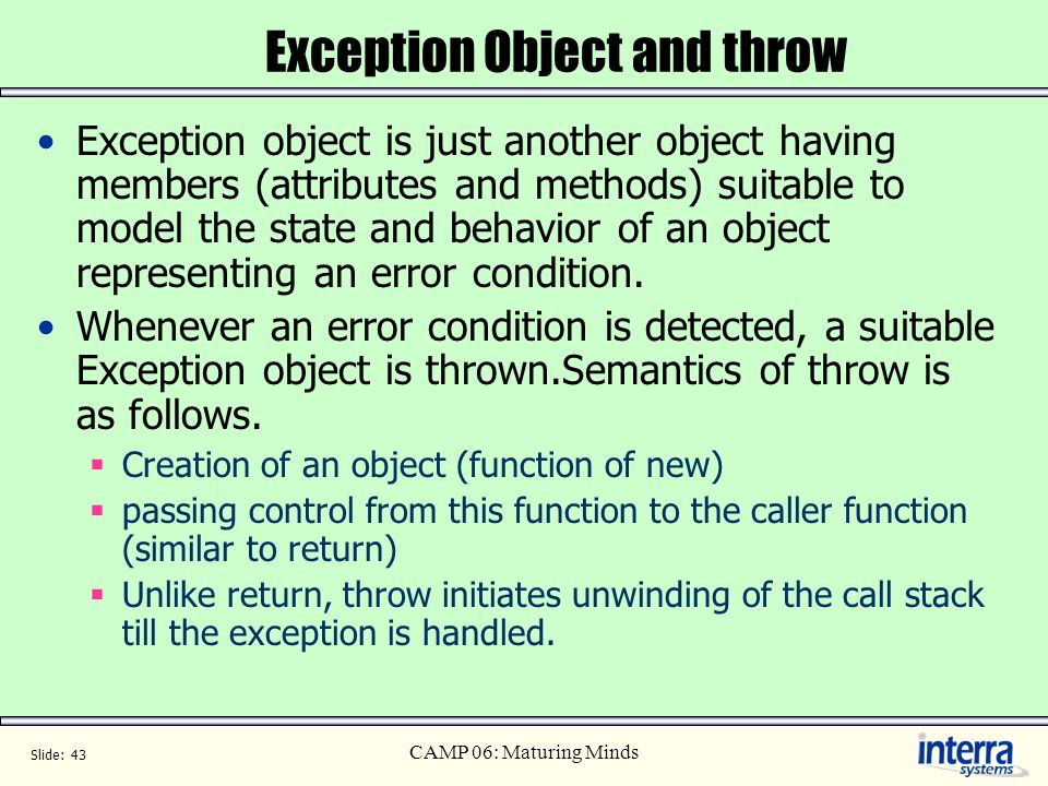 Exception Object and throw