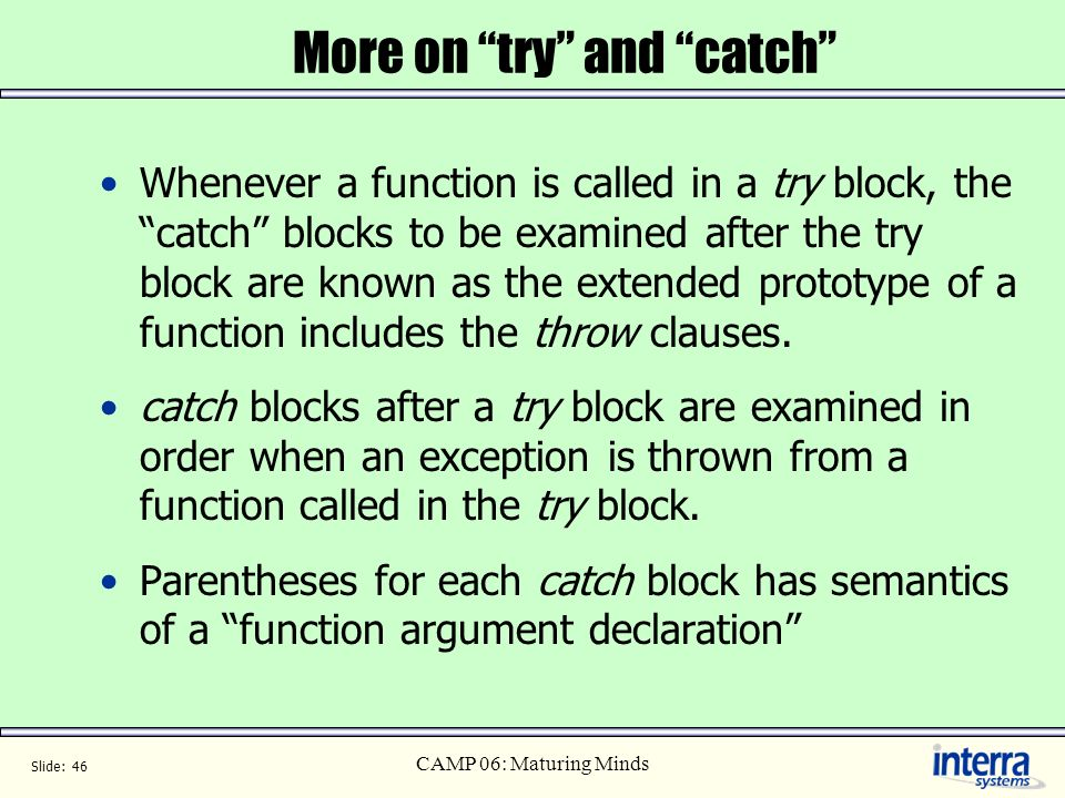 More on try and catch