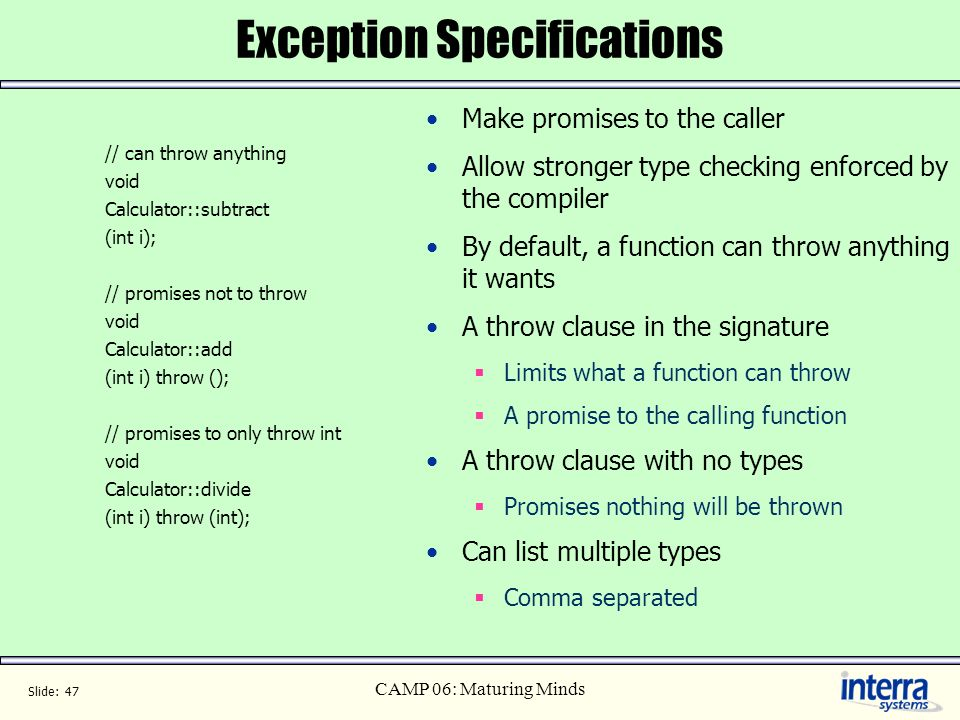 Exception Specifications