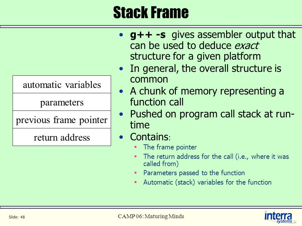 previous frame pointer