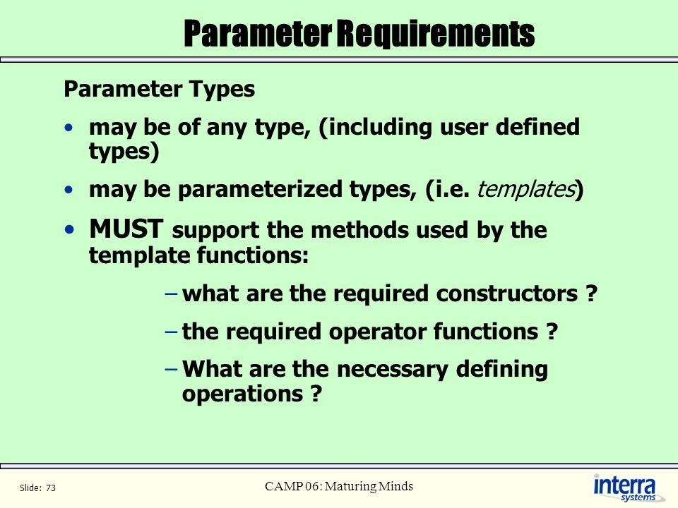 Parameter Requirements