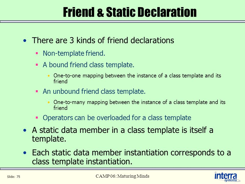 Friend & Static Declaration