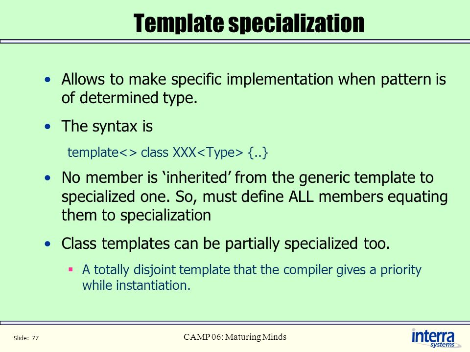 Template specialization