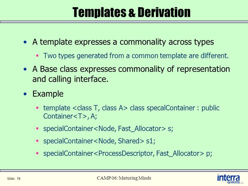 Templates & Derivation