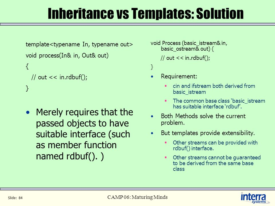Inheritance vs Templates: Solution