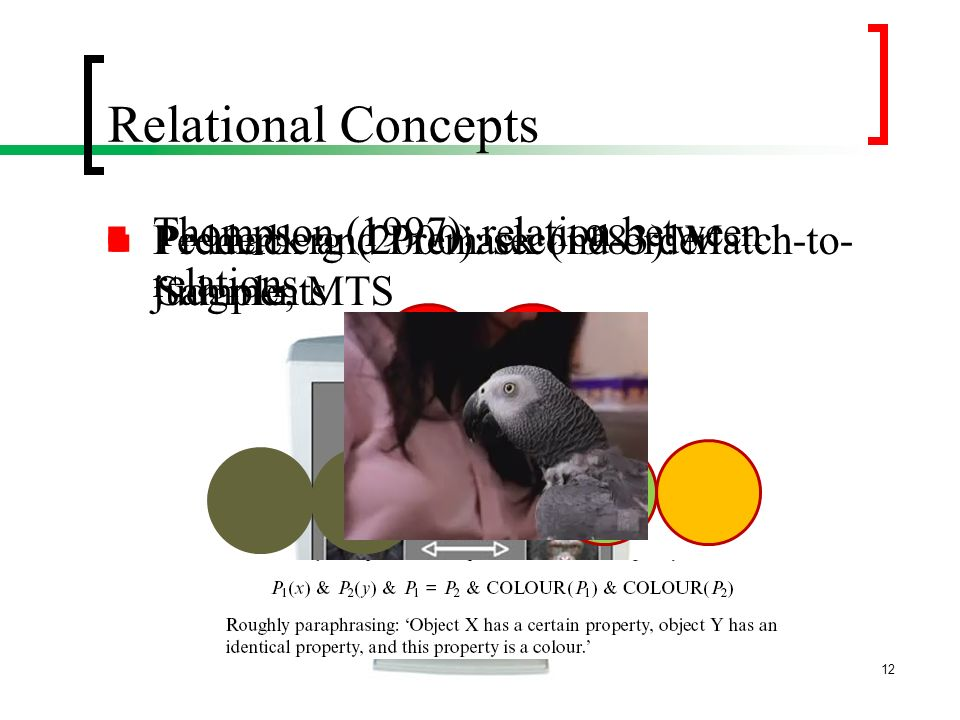Relational Concepts Thompson (1997): relation between relations