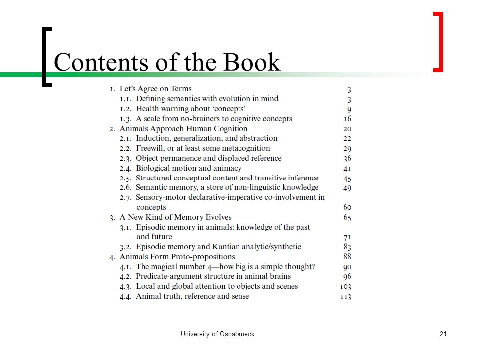 Contents of the Book University of Osnabrueck