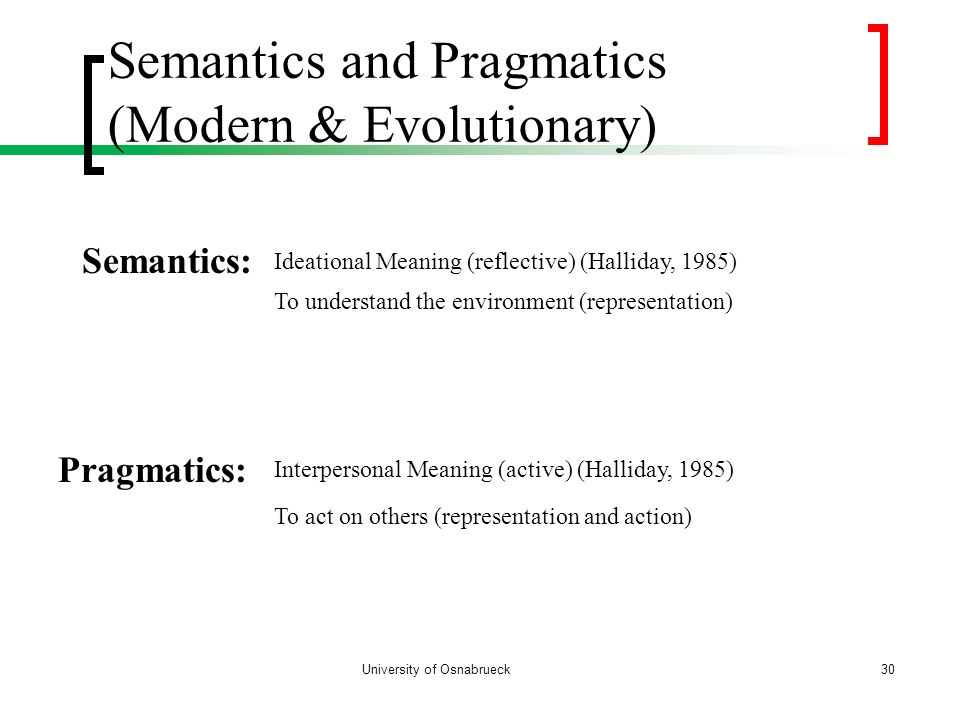 Semantics and Pragmatics (Modern & Evolutionary)