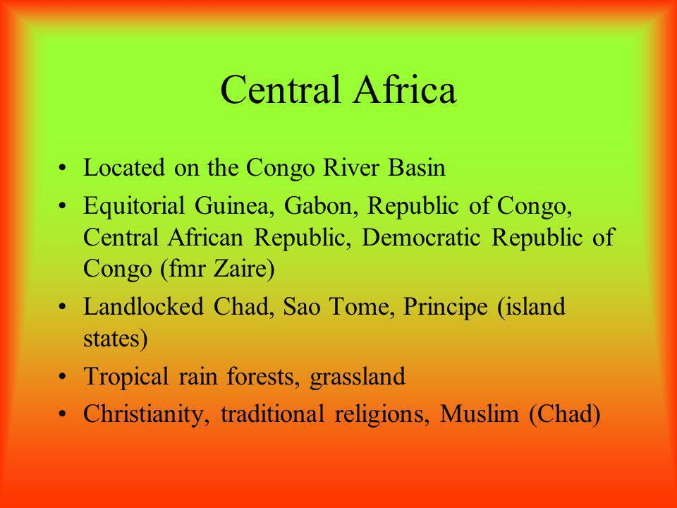 Central Africa Located on the Congo River Basin
