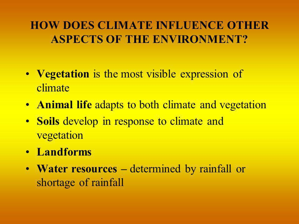 HOW DOES CLIMATE INFLUENCE OTHER ASPECTS OF THE ENVIRONMENT