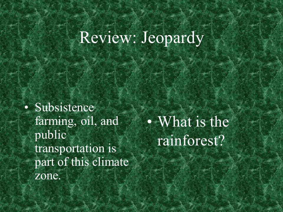 Review: Jeopardy What is the rainforest