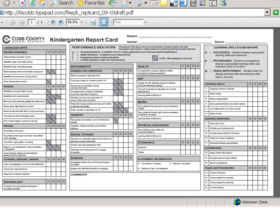 If you look at the K report card, you will see that everything builds.