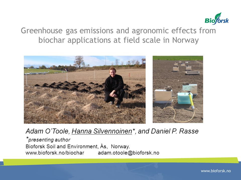 Greenhouse gas emissions and agronomic effects from biochar applications at field scale in Norway