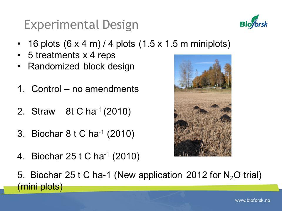 Experimental Design 16 plots (6 x 4 m) / 4 plots (1.5 x 1.5 m miniplots) 5 treatments x 4 reps. Randomized block design.