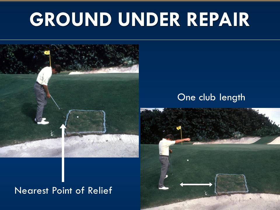 GROUND UNDER REPAIR One club length Nearest Point of Relief