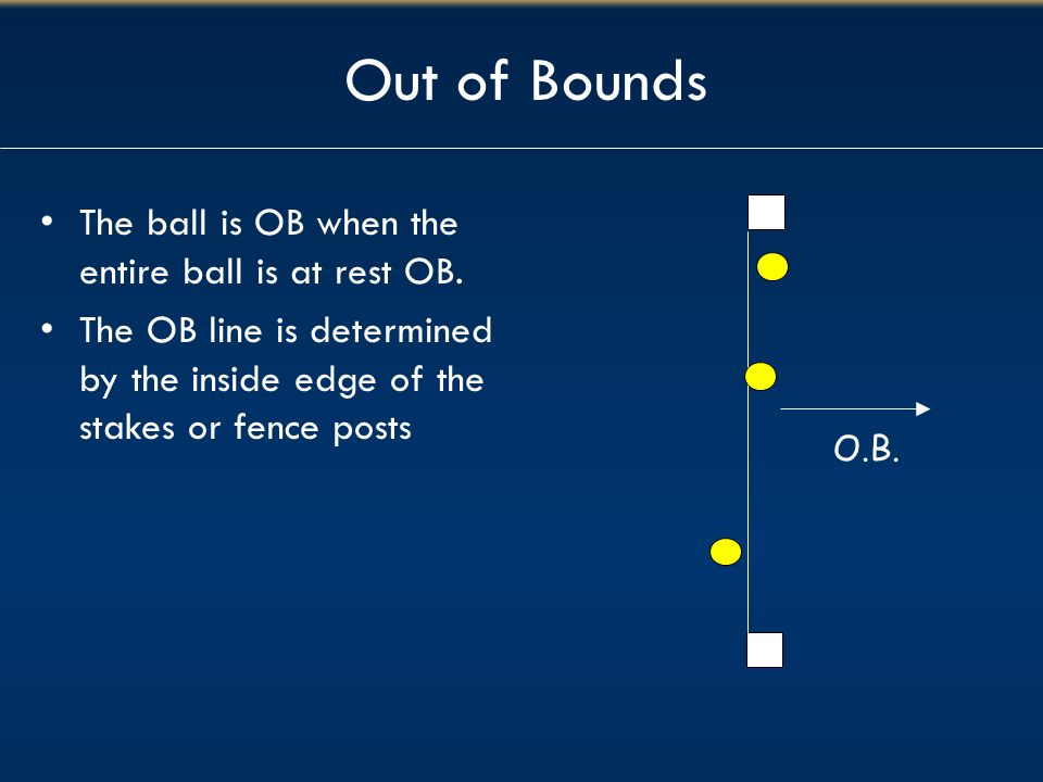 Out of Bounds The ball is OB when the entire ball is at rest OB.