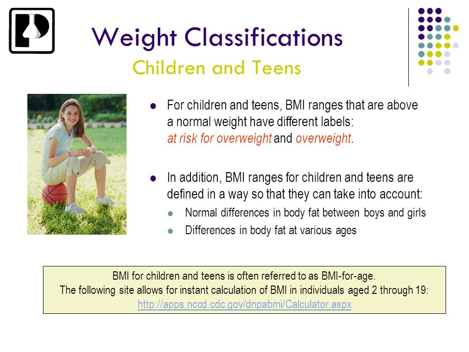 Weight Classifications Children and Teens
