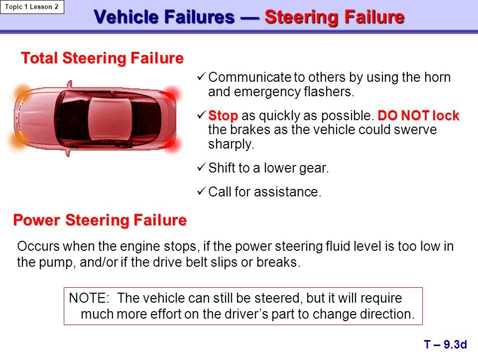 Vehicle Failures — Steering Failure