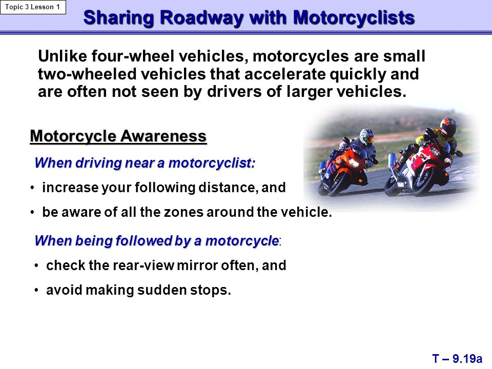 Sharing Roadway with Motorcyclists